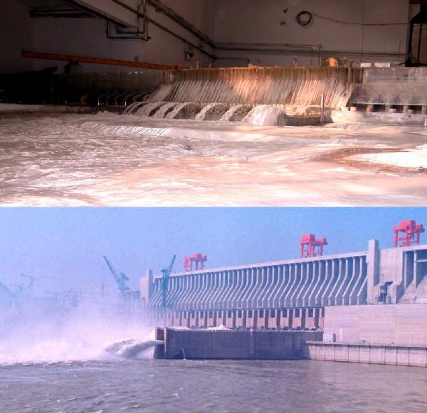 Der Drei-Schluchten-Damm als Modell und in Natur